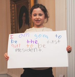 A young girl wants to be the first female president.
